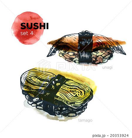 Hand Drawn Sushi Set.のイラスト素材 [20353924] - PIXTA