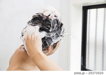 髪の毛を洗う若い男性 20373020