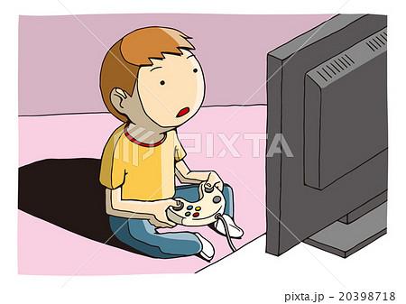テレビゲームをする人のイメージイラスト子供パターンのイラスト素材