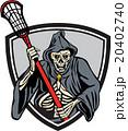 Grim Reaper Lacrosse Player Crosse Stick Retro 20402740