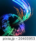 カーブして流れる光のラインと球面 アブストラクトイメージ 20403953