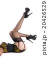 Beautiful woman wearing nylon stockings, and green lingerie 20426529