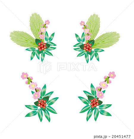 正月の梅の花とマンリョウの和風花飾りのイラスト素材 20451477 Pixta