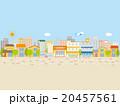 ビルとお店が並んだ街並,青空と地面 20457561