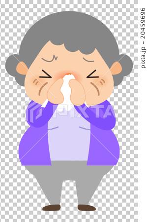 おばあちゃん-鼻をかむ 20459696