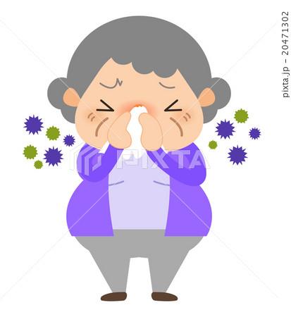おばあちゃん-鼻をかむ 20471302