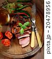 バックグランド ビール ステーキ肉の写真 20478956