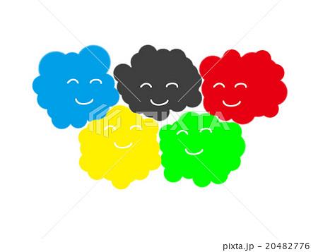 オリンピックのシンボルの色に似た笑顔の雲 20482776