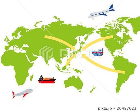 世界から日本に向く矢印世界地図イメージのイラスト素材 20487023 Pixta