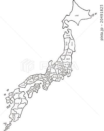 手書きの日本地図イメージ,モノクロ,地面あり,都道府県表示