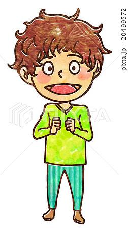 子供の全身わくわくアナログ風イラストのイラスト素材 20499572