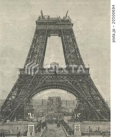 アンティーク・イラスト「エッフェル塔」(1889年 パリ万博)のイラスト ...