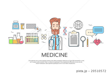 medical doctor icon male portrait medicine bannerのイラスト素材