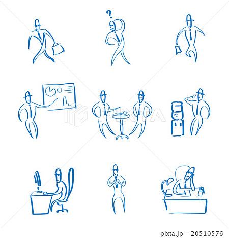 Business Man Working Set Daily Routine Hand Draw 20510576
