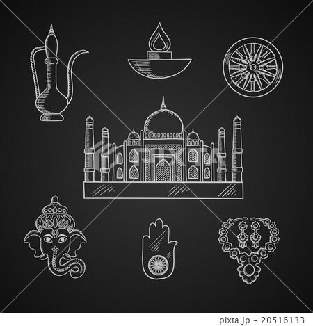 Indian religion and culture symbolsのイラスト素材 [20516133] - PIXTA