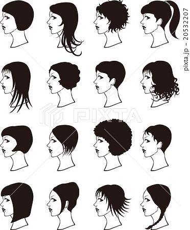 ヘアスタイル 女性 モノトーンのイラスト素材 20532207 Pixta