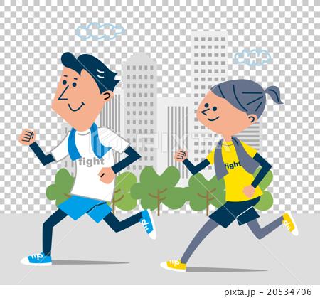 ビル街でジョギングするカップル   20534706