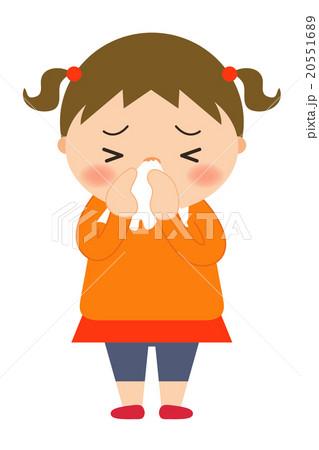 女の子-鼻をかむ 20551689