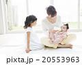 赤ちゃんにミルクをあげるお母さんと女の子 20553963