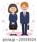 男女学生_濃紺ブレザー,桜背景 20559324