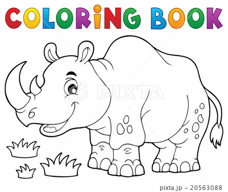 Coloring book rhino theme image 1 20563088