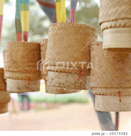 bamboo wooden rice box for sticky riceの写真素材 [20573383] - PIXTA