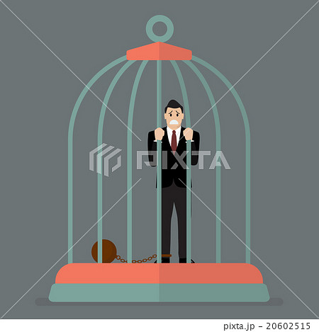 Businessman with weight in bird cage 20602515