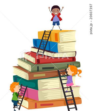 Stickman Kids Book Stack Ladders Climb 20607397