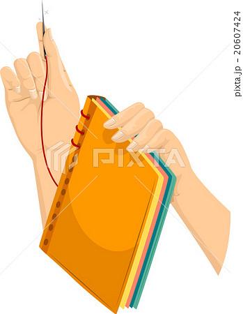 hands book making bindingのイラスト素材 20607424 pixta