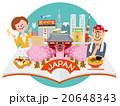 開いた本から日本観光街並イメージ,人物2人,青空丸 20648343