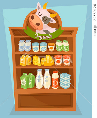 Dairy products on wooden tableのイラスト素材 [20689126] - PIXTA