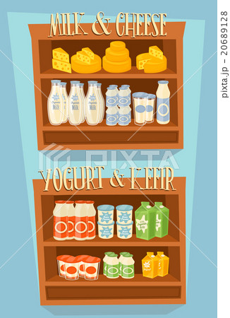 Dairy products on wooden tableのイラスト素材 [20689128] - PIXTA