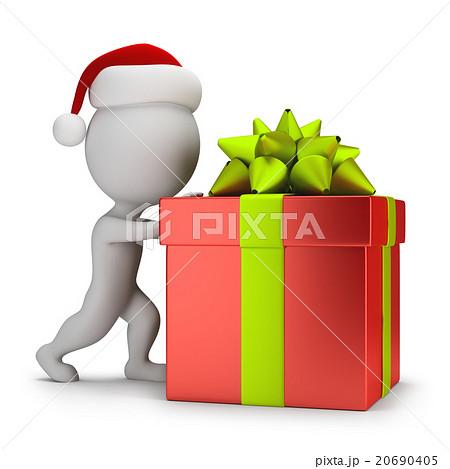 3d small people - Santa pushing a gift 20690405