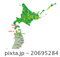 仙台-函館路線図_色分け黄緑 20695284
