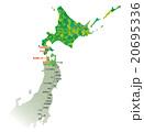 東京-函館路線図_色分け黄緑 20695336