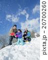 雪の丘で雪を投げて遊ぶ4人家族 20700260