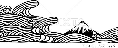 切り絵富士と海のイラスト素材 20793775 Pixta