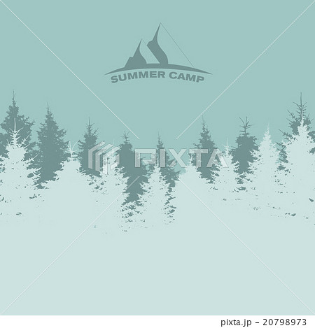 summer camp image of nature tree silhouetteのイラスト素材