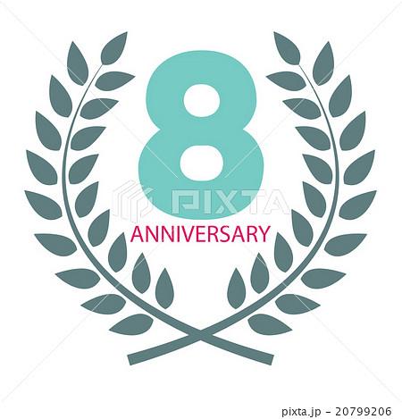 template logo 8 anniversary in laurel wreathのイラスト素材 20799206