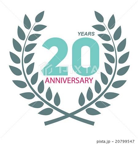template logo 20 anniversary in laurel wreathのイラスト素材