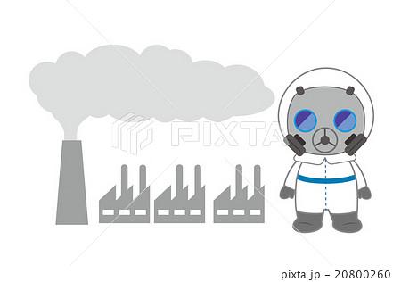 工場の排気ガスと防護服の人 20800260