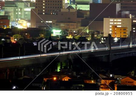 北陸新幹線神通川橋梁と富山市街夜景 20800955