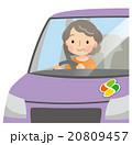 車の運転をする高齢者 女性 20809457