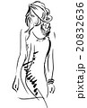 Graphic, sketch hand drawing. Sexy woman pose 20832636
