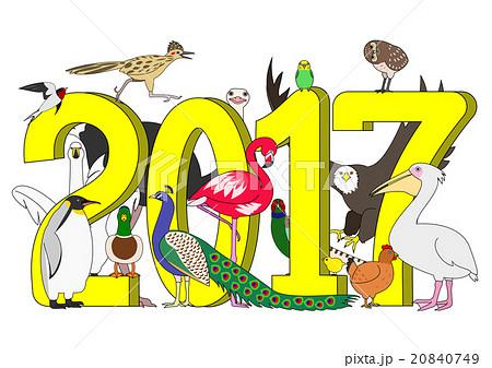 鳥のグループ 2017年のイラスト...