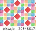 カラフル 鮮やか 春 背景素材 背景イラスト パターン タイル柄 模様 かわいい 赤色 水彩画  20848617