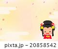 着物の女の子と桜花吹雪背景(ベクター素材有) 20858542