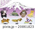 地図の動物 一都六県 富士山と桜 20861823