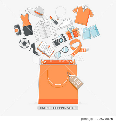 online shopping stores concept line icons style のイラスト素材