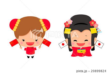 国旗を持った中国人と日本人の女の子のイラスト素材 20899824 Pixta